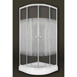 Sanimix 22.1502-80 White Negyedköríves zuhanykabin csíkos üveggel 80x80x200