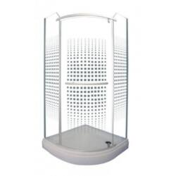 Sanimix 22.1533 Negyedköríves keret nélküli nyílóajtós zuhanykabin kockás üveggel 90 x 90 x 210 cm