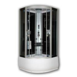 Sanimix 22.56.5.0 Negyedköríves Hidromasszázs kabin-mély tálca, fekete üveg hátfal 100x100x222