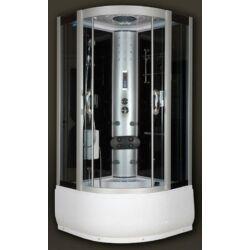 Sanimix 22.56.5 Negyedköríves Hidromasszázs gőzkabin-mély tálca, fekete üveg hátfal 100x100x215 (gőzrendszerrel)