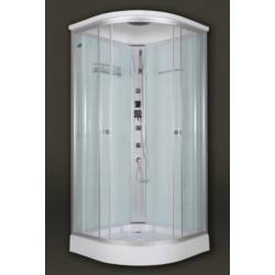 Sanimix 22.1032 Negyedköríves Hidromasszázs zuhanykabin fehér hátfallal 90x90x222