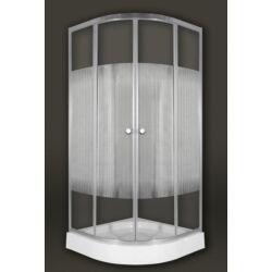 Sanimix 22.1502 White Negyedköríves zuhanykabin csíkos üveggel 90x90x200cm