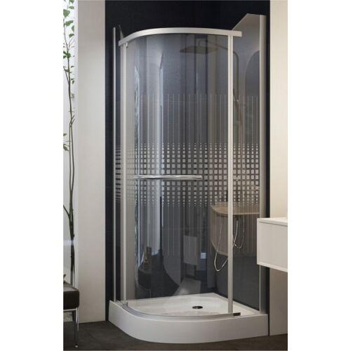 Negyedköríves, keret nélküli nyílóajtós zuhanykabin 90x90x195 Mintás üveggel
