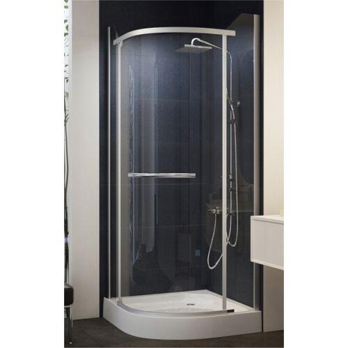 Negyedköríves, keret nélküli nyílóajtós zuhanykabin 90x90x195