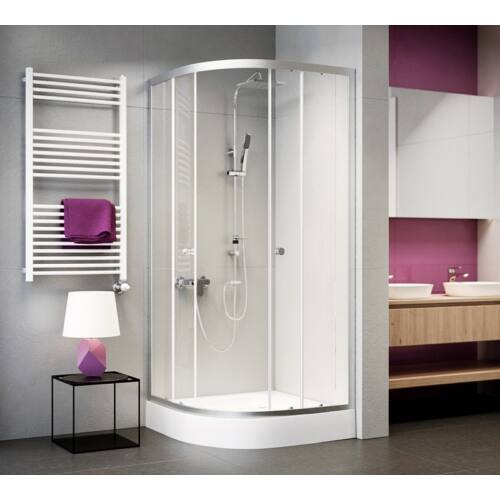 Negyedköríves zuhanykabin , víztiszta üveggel 80x80x185