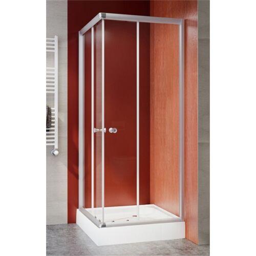 Szögletes zuhanykabin, matt króm, 5mm víztiszta üveggel