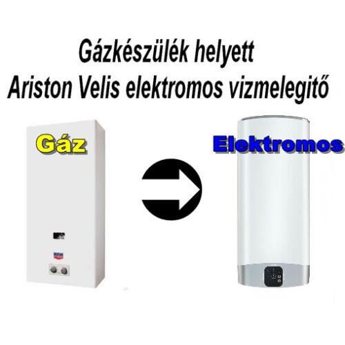 Gázkészülék helyett Ariston Velis 80 EVO EU  elektromos vizmelegitő villanybojler. Komplex csomagban