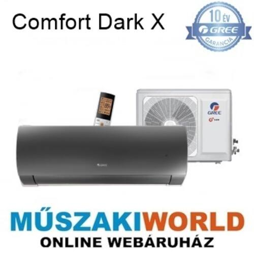 Gree Comfort Dark X 3,5 kw (GWH12ACC-K6DNA1D) Téliesíttet, inverteres, wifi, Hűtő-fűtő split klíma (R32)