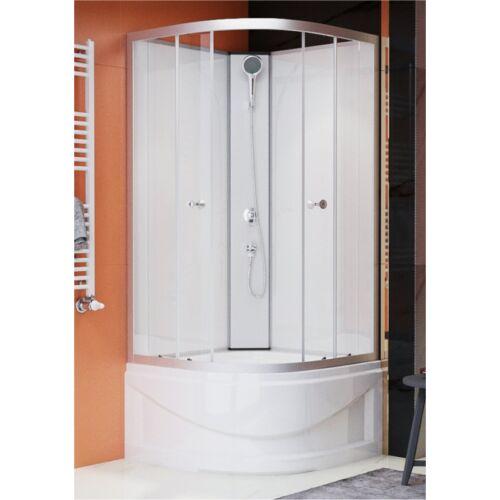 Sanimix 22.1762B Negyedköríves mélytálcás zuhanykabin Fehér üveg hátfallal 90x90x200