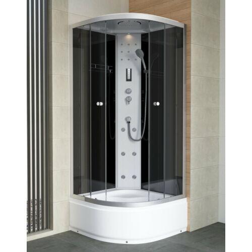 Sanimix 22.1055 BLACK Negyedköríves Hidromasszázs zuhanykabin elektronikával üveg hátfallal 90x90x222