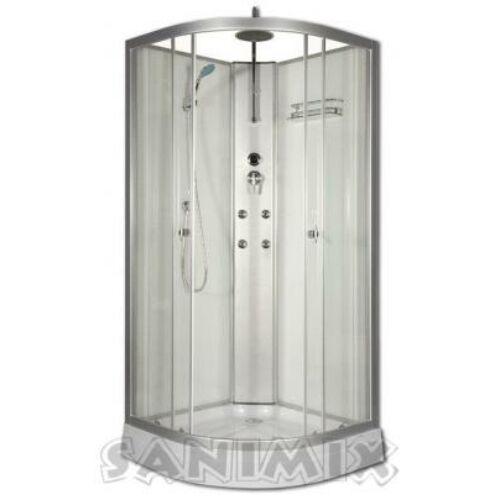 Sanimix 22.181 WHITE Negyedköríves hidromasszázs zuhanykabin fehér üveg hátfallal 90x90x215 tető nélkül