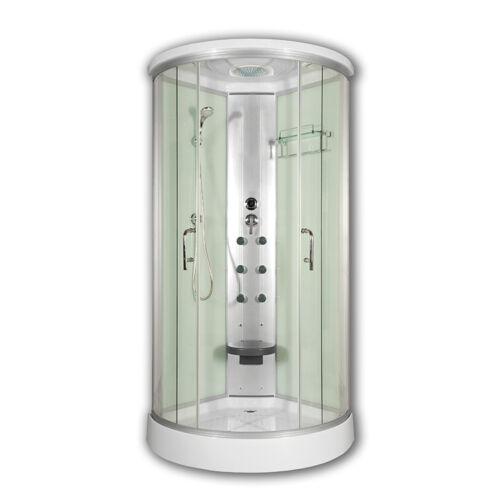 Sanimix 22.8021 WHITE Negyedköríves hidromasszázs zuhanykabin fehér üveg hátfallal 90x90x215