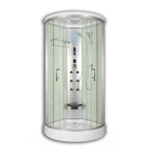 Sanimix 22.8021-1 Negyedköríves Hidromasszázs Zuhanykabin Elektronikával Fehér üveg hátfallal 90x90X215 cm