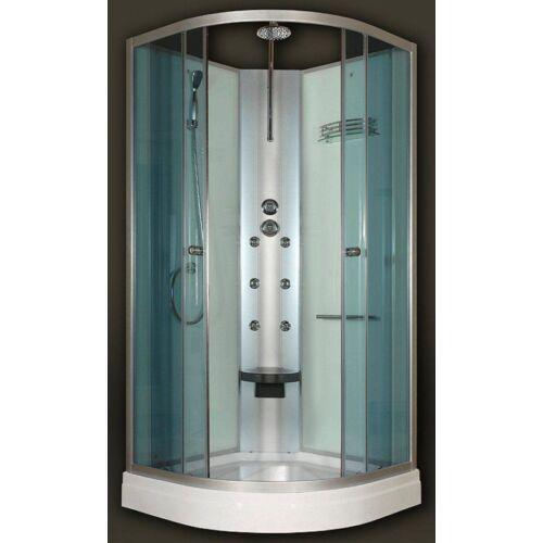 Sanimix 22.180 Negyedköríves Hidromasszázs zuhanykabin üveg hátfallal zuhanykabin tető nélkül 90x90x222