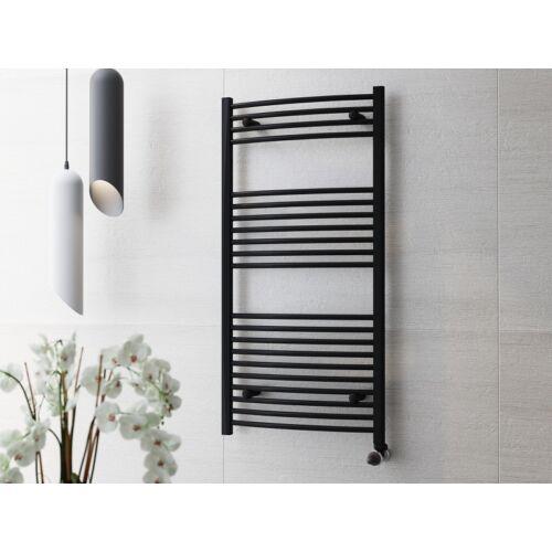 Törölközőszárító radiátor fekete, Íves 120cm * 60cm