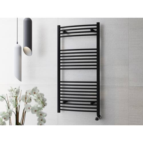 Törölközőszárító radiátor fekete, íves 70cm * 50cm