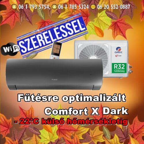 Gree Comfort Dark X 3,5 kW (R32) Inverteres Integrált wifi vezérlés, Fűtésre optimalizált split klíma Szállítva és Szerelve
