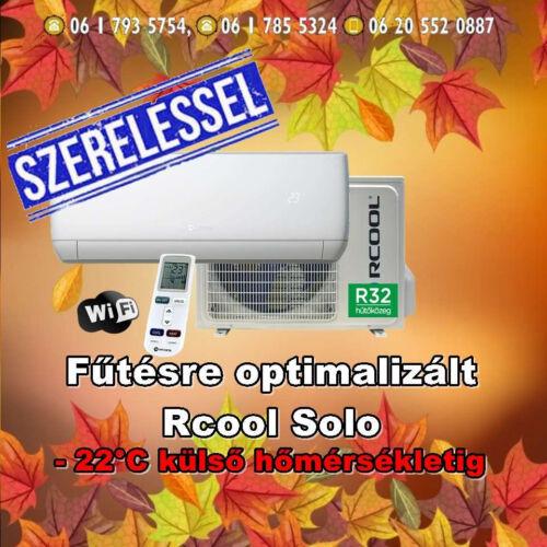 Rcool Solo 12 3,5 kW (R32) Inverteres Integrált wifi vezérlés Fűtésre optimalizált split klíma  Szállítva és Szerelve