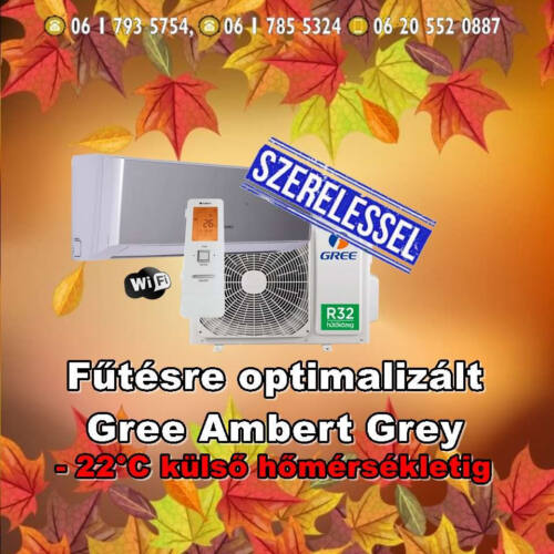 Gree Amber Grey 3,5 kW (R32) Inverteres Integrált wifi vezérlés, Fűtésre optimalizált split klímaértékesítés  Szállítva és Szerelve