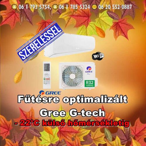 Gree G-tech 3,5 kw (R32) Inverteres Integrált Wifi vezérlés, Fűtésre optimalizált, split klímaértékesítés  Szállítva és Szerelve