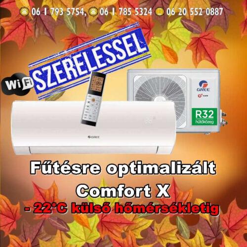 Gree Comfort X 3,5 kW (R32) Inverteres Integrált wifi vezérlés, Fűtésre optimalizált split klíma Szállítva és Szerelve