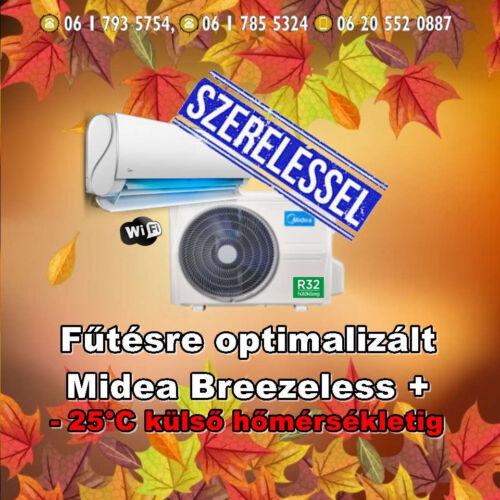 Midea BreezeleSS+ 3,5 kw (R32) Inverteres Integrált wifi vezérlés, fűtésre optimalizált split klíma  Szállítva és Szerelve