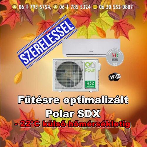 Polar SDX 3,5 kw (R32) Inverteres Integrált wifi vezérlés, Fűtésre optimalizált, split klíma  Szállítva és Szerelve